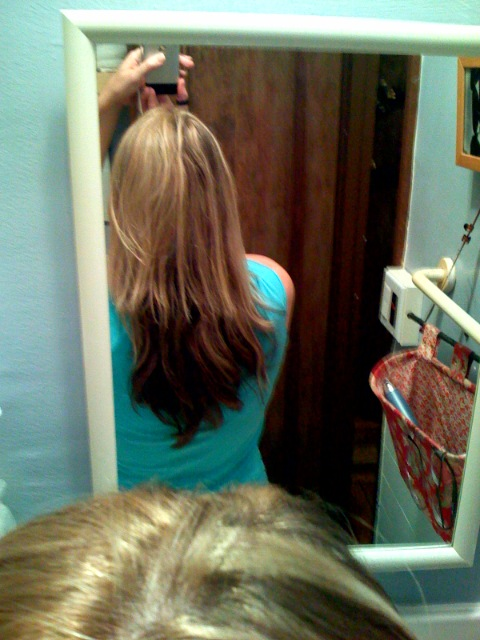 Which looks like this from the back (my only instructions are: leave no hair